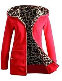 FNKDOR Nuevas mujeres más terciopelo grueso sudadera con capucha Leopard cremallera abrigo abrigo outwear