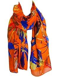 95936d39a9a3 Grand foulard étole paréo 100% soie motif floral - orange - jaune - bleu  royal