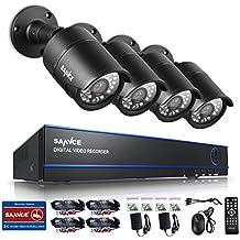 [1920*1080P HD] SANNCE® Kit de 4 Cámaras de Vigilancia Seguridad (Onvif H.264 CCTV DVR P2P 4CH AHD 1080P y 4 Camaras 2MP IP66 Impermeable, 3.6MM, IR-Cut, Visión Nocturna Hasta 20M, Exterior y Interior, HDMI, 24 LEDs Seguridad Kit) - NO Disco Duro