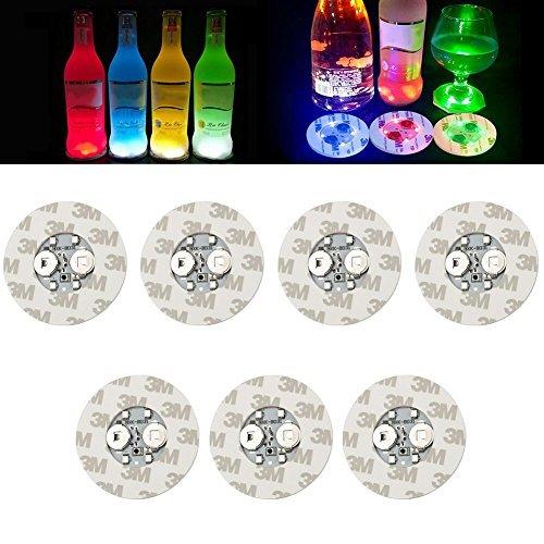LED Sticker Untersetzer Scheiben Lichter für Wein-Likör Flasche klar Glas Tasse Untersetzer für Halloween Party, Hochzeit, Bar, Party Dekoration (7pcs) mehrfarbig