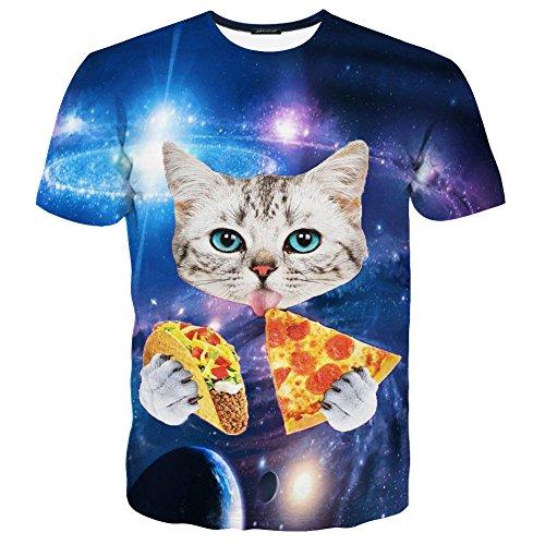 LAIDIPAS Unisex 3d Katzenmuster gedruckte Farben-Kurzschluss-Hülsen-T-Shirts M (Präsident T-shirt Unisex)
