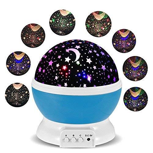 Lampe de Projection Veilleuse Bébé Etoile Lampe Chevet Avec 360 Degrés De Rotation Romantique 4 Différents Couleurs De LED Pour Cadeau Bébé Anniversaire Enfant Soirée Marriage (Bleu)
