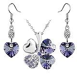 Jewelry Set Clover Pendant Necklace+Dangle Earring Heart Shaped SWAROVSKI Tanzanite Purple Crystals