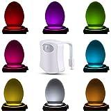 Topist WC Night Light, LED Détecteur de mouvement Capteur de lumière à piles, 8 lumière lumière nocturne Cuvette WC aux couleurs changeantes