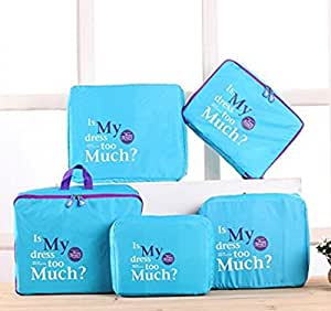 EZ Life 5 Piece Travel Bag-in-bag Organizers Nylon - Light weight- Blue