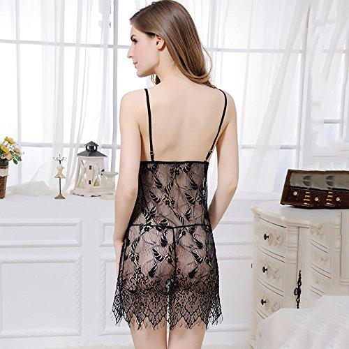 lpkone-Vêtements sexy en dentelle transparente sexy belt ceinture Mesdames chemise tentation accueil taille de robe,Black Black