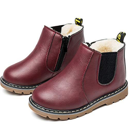 Nasonberg Jungen Mädchen Winter Schneestiefel Warme weiche Winterschuhe Boots für Kinder Baby,Rot2,22 EU