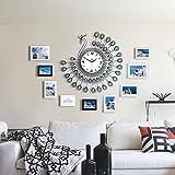KTYX Pfau Massivholz Fotowand mediterrane moderne einfache Fotowand mit Uhr Bildrahmen (Farbe : #1)