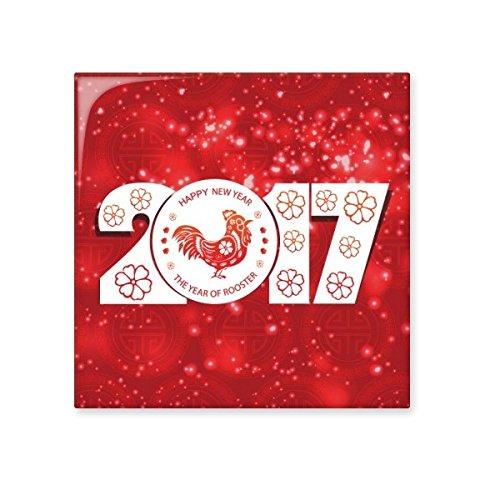 Happy New Year 2017Year of the Rooster Chinesische Sternzeichen Muster Illustration Keramik Bisque Fliesen für Dekorieren Zimmer Küche Keramik Fliesen Wand Fliesen Large