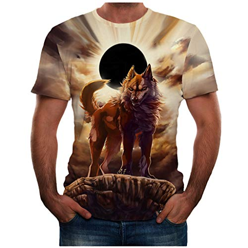 BHYDRY Männer Sommer Neue volle 3D gedruckte T-Shirt Plus Größe S-3XL Cool Printing Top Bluse(XXX-Large,Gelb Top Cutter