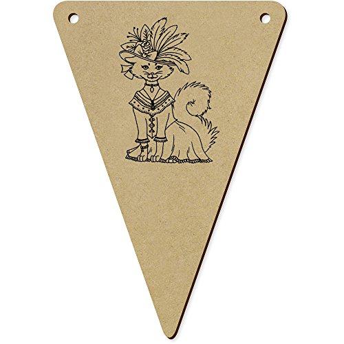 Kostüm Bunting Katze - Azeeda 5 x 140mm 'Katze im Kostüm & Hut' Wimpel / Banner aus Holz (BN00018584)
