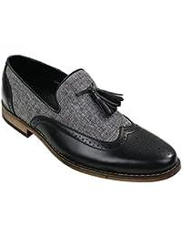 Hombres Tweed y piel holgazanes Zapatos de conducción resbalón de Tassle Diseño retro vintage