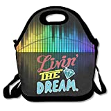 Copdsa Living The Dream Diamant Isolierte Personalisierte Tote Lunch Futtertasche schwarz