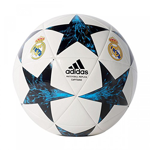 adidas Real Madrid Finale 17 Capitano Spielball, White/Black/Vivtea/Nt, 5 -