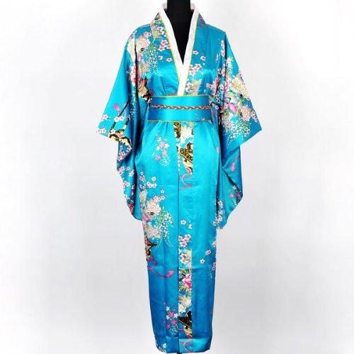 Shanghai Tone® Japanisch Kimono Robe Yukata Schlafanzug Türkis Einheitsgröße (Kleidung Japanische Kimono)