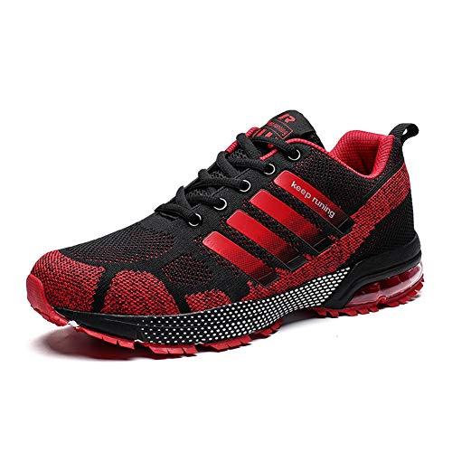 Damen Herren Laufschuhe Sportschuhe Turnschuhe Trainers Running Fitness Atmungsaktiv Sneakers(Rot,Größe 38)