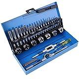 Set di maschi e matrici in acciaio legato, 32 pezzi M3-M12 Set di maschi e matrici a passo grosso con chiave per utensili a filo