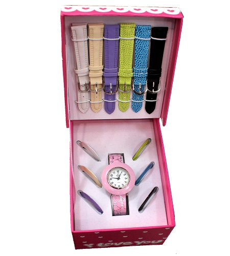 children-ladies-love-gift-set-especially-for-you-pink-watch-with-6-interchangeable-straps-and-bezels