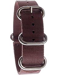 Yves Camani Unisson 20 mm Uhren-Armband Nylon Nato-Band Braun Neu