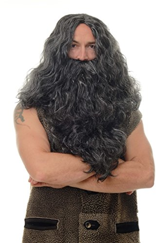 Jesus Günstige Kostüm - WIG ME UP - Perücke Bart Vollbart Fasching Karneval Prophet Sadhu Guru Jesus Hipster Wikinger Barbar schwarz WIG011-P103PC309
