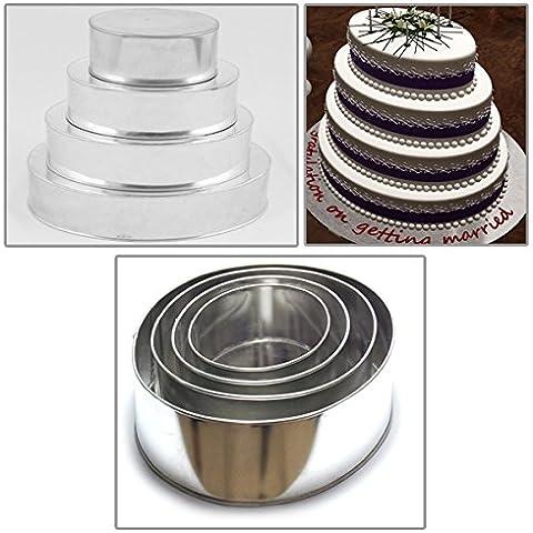 EURO TINS molde Ovalado para tarta de boda de 4 pisos - juego de 4