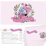 Postkartenschmiede 12 Pferde Einladungskarten Kindergeburtstag Mädchen, Einladungen mit bedruckten Umschlägen, Geburtstagseinladungen mit Pferd (12 Karten + 12 Bedruckte Umschläge)