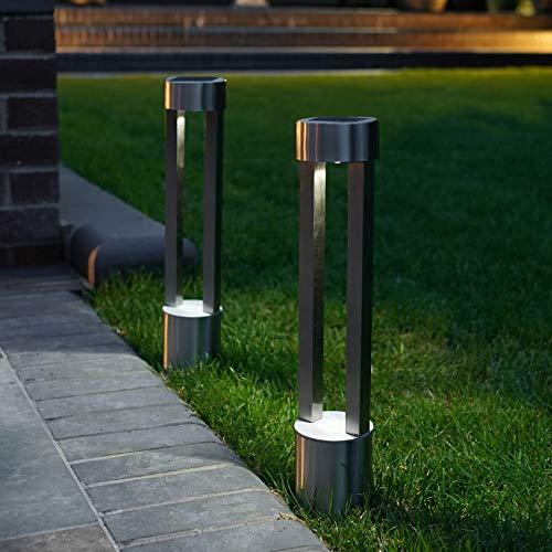 Festliche Lichterkette 2 Stück Solar Edelstahl Poller Modern Outdoor Garten Wegbeleuchtung Silber