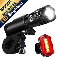 REHKITTZ Luci Bici,Luce per Bici, Luci a LED per Bicicletta Super-Luminosa di Resistente all'Acqua E alle Intemperie Set, Luce Bici LED e Luce Posteriore LED Montaggio Facile, Rapidità di Rilascio