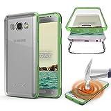 Urcover Galaxy J7 2016 Coque 360 degrés Protection Housse complète Avant arrière, Souple TPU Cover Samsung Galaxy J7 2016, Etui Tactile, Case - Vert