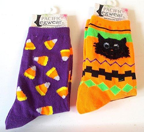 halloween-socks-candy-corn-purple-black-cat-orange-girls-9-3-nwt