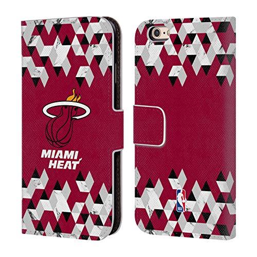Offizielle NBA Marmor Geometrisch 2018/19 Miami Heat Brieftasche Handyhülle aus Leder für iPhone 6 / iPhone 6s Miami Heat Cellular Phone Case