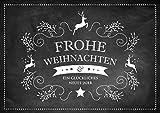 Erhältlich im 1er 4er 8er Set: Edle Retro Weihnachtskarte (Klappgrußkarte/mit Hirsch im schwarzem Kreidetafel Look Text: Frohe Weihnachten und EIN glückliches Jahr. (Mit Umschlag) (8)