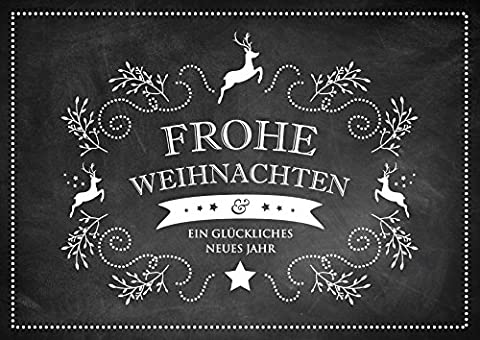Erhältlich im 1er 4er 8er Set: Edle Retro Weihnachtskarte (Klappgrußkarte / Glückwunschkarte / Neujahrskarte / Grußkarte auch für Ihr Kunde und Geschäftspartner) mit weißen Ornamenten mit Hirsch, Zweige und Sterne im