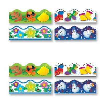 Trend Enterprises Products - Terrific Trimmers, Pre-cut, Reusable, Four Seasons, 156', 4/PK - Sold as 1 EA - Decorate classrooms and enhance learning environments with durable themed trimmers. Trimmer variety pack includes all four seasons with Fall Fun, Rainy Day Boots, Crayon Flowers, and Winter Fun. Perfect for trimming bulletin boards, chalkboards and classroom walls. Ideal for prekindergarten to ninth-grade (ages 3 to 15). by Trend - Terrific Trimmer Variety Pack