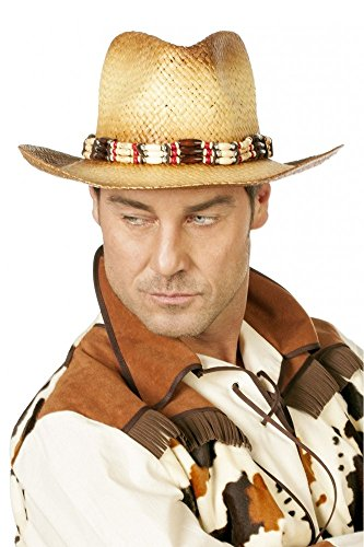 shoperama Cowboy-Hut aus Stroh mit Hutband aus Perlen Damen Herren Cowboy Cowgirl Western