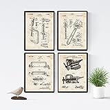 Nacnic Vintage - Lot de 4 Feuilles avec des Brevets d'outil 2. Définir des Affiches avec des Inventions et des Anciens Brevets...