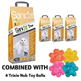 Sanicat Clumping Duo Cat Litter Vanilla And Mandarin Scented 40L Antibacterial Disposable And Hypoallergenic Hygiene Granules With Smell Control Deodorant Formula Combined With Trixie Nub Toy Balls