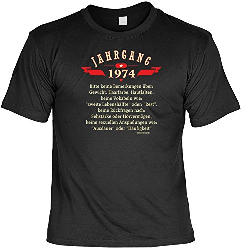 Spaß-Shirt inkl. Mini-Shirt/Geschenk-Set: Jahrgang 1974 - Party-Shirt inkl. Flaschendeko Geburtstagsset Schwarz