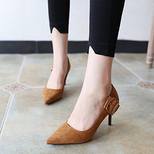 FLYRCX la moda europea semplificata camoscio bene tacco lady tacco alto scarpe eleganti B