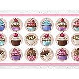 "'I Love de pared adhesivo B Streifen–Puf Cocina cenefa ""Cupcakes y café cenefa Cocina Pared Decoración Tarta Magdalenas, Höhe: 15 cm; Breite: 5 m"