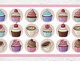 I-love-Wandtattoo Sticker mural B-10077Frise pour cuisine 'Cupcakes et café', décoration murale motif muffins, gâteaux, Höhe: 15 cm; Breite: 5 m