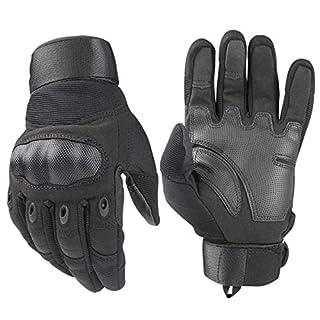 Tactical Handschuhe, Army Military Rubber Hard Knuckle Outdoor Full Finger Touchscreen-Handschuhe für Herren Radfahren Motorrad Jagd Shooting Wandern Camping,Schwarz, Large