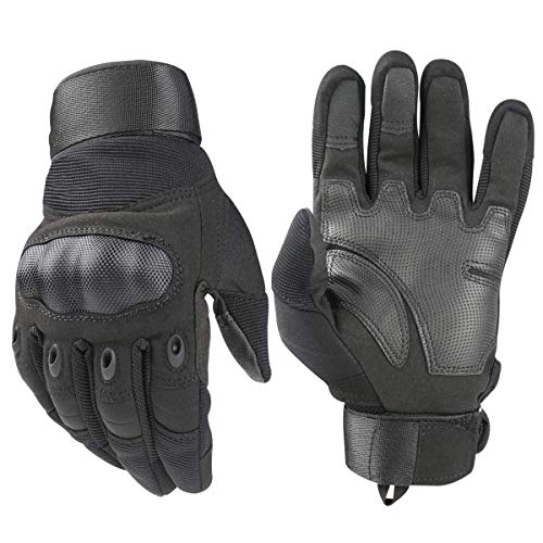 Tactical Handschuhe, Army Military Rubber Hard Knuckle Outdoor Full Finger Touchscreen-Handschuhe für Herren Radfahren Motorrad Jagd Shooting Wandern Camping,Schwarz, Large Schwarzen Handschuhen