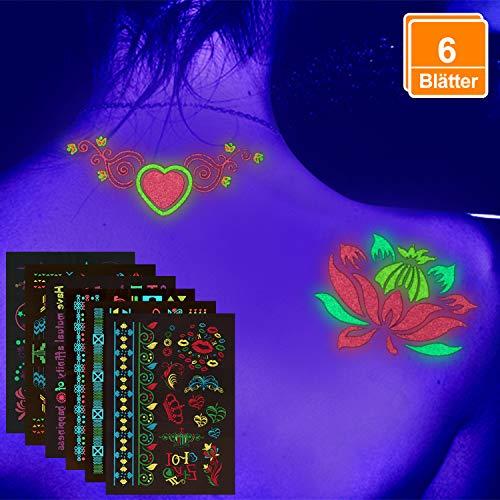 6x Temporäre Tattoos AufkleberAuf die Haut, Tattoo für Neon-Partys, Schwarzlicht-Theater, A5 Bogen Wasserfeste.