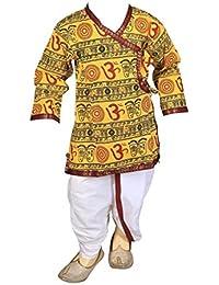 FOCIL Yellow Om Printed Dhoti Kurta Pant Set For Kids
