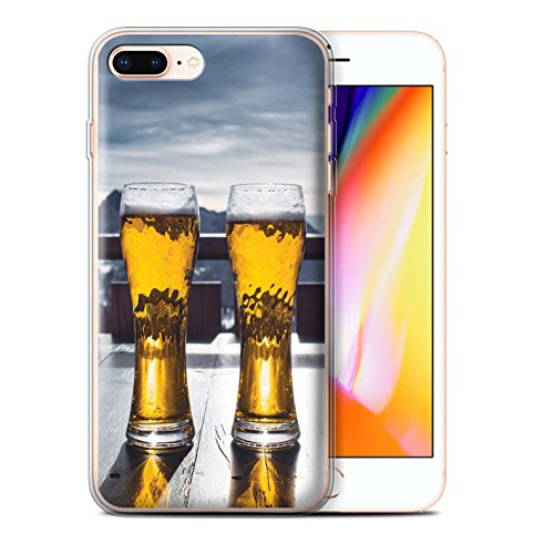 Stuff4 Gel TPU Hülle / Case für Apple iPhone 8 Plus / Pulver Tag Muster / Skifahren/Snowboard Kollektion Skihütte/Bier