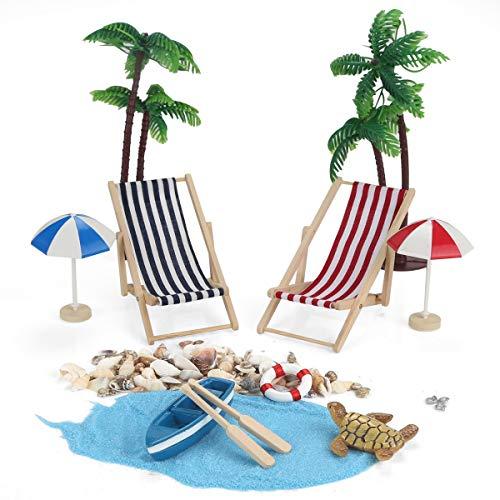 Ailiebhaus 12 Stk Strand-Mikrolandschaft Miniliegestuhl Sonnenschirm Palme Garten Deko