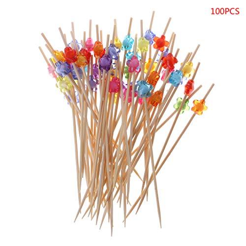 (Chiic 100 Stück 12 cm Pflaume Blume Lebensmittel Spikes Dessert Buffet Salat Obst Gabel Kuchen Muffin Party Gemüse Cocktail Zahnstocher)