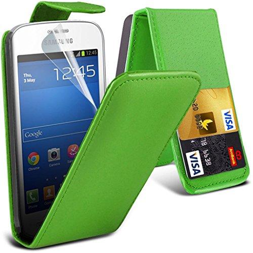 Samsung Galaxy S5 Neo hülle Tasche (Grün + Kopfhörer) Slim-Fit-Abdeckung für Samsung-Galaxie-S5 Neo-hülle Tasche Haltbarer S Linie Wellen-Gel-Kasten-Haut-Abdeckung + mit Aluminium Earbud Kopfhörer, Po PU Flip ( Green )