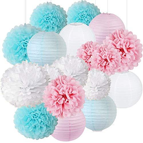 Erosion Geschlecht offenbaren Partei-Versorgungsmaterialien Jungen-oder Mädchen-Baby-Duschen-Dekorationen Baby-Blau-Rosa-weiße Seidenpapier-Pompom-Papier-Laternen